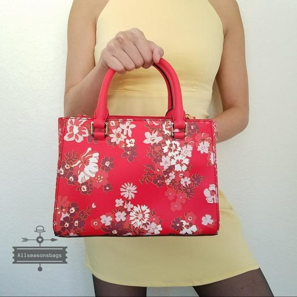 235543250851 Michael Kors Bags | Nwt Sangria Floral Xs Satchel Bag | Poshmark
